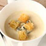 Cauliflower and Gorgonzola Soup with Creation Merlot photo