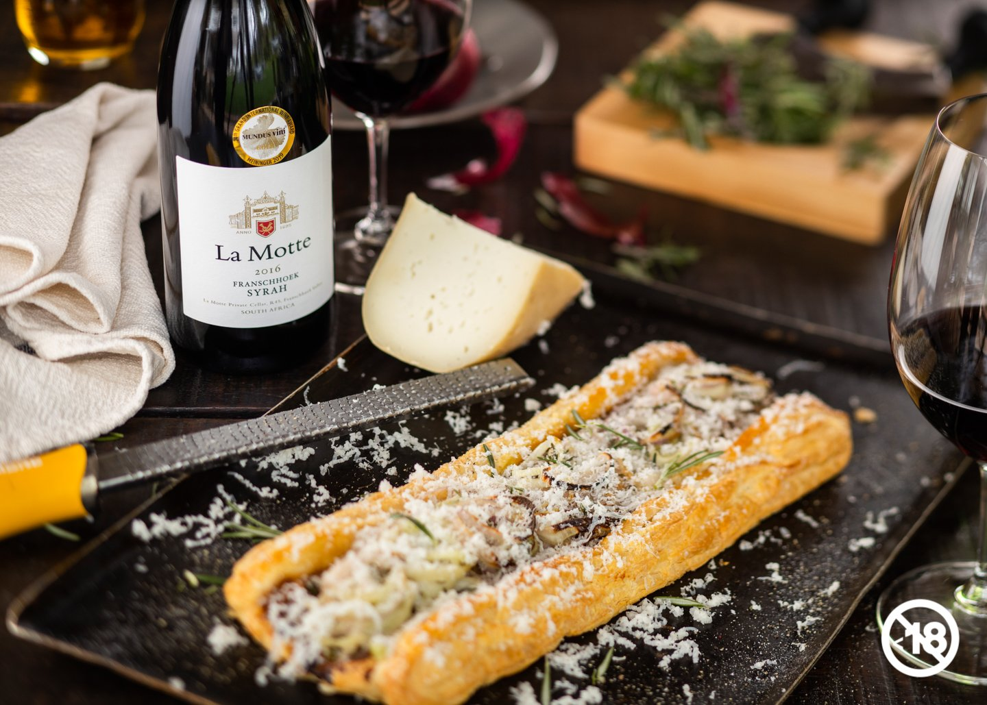 Onion and Cheddar Tart Paired With La Motte Syrah photo
