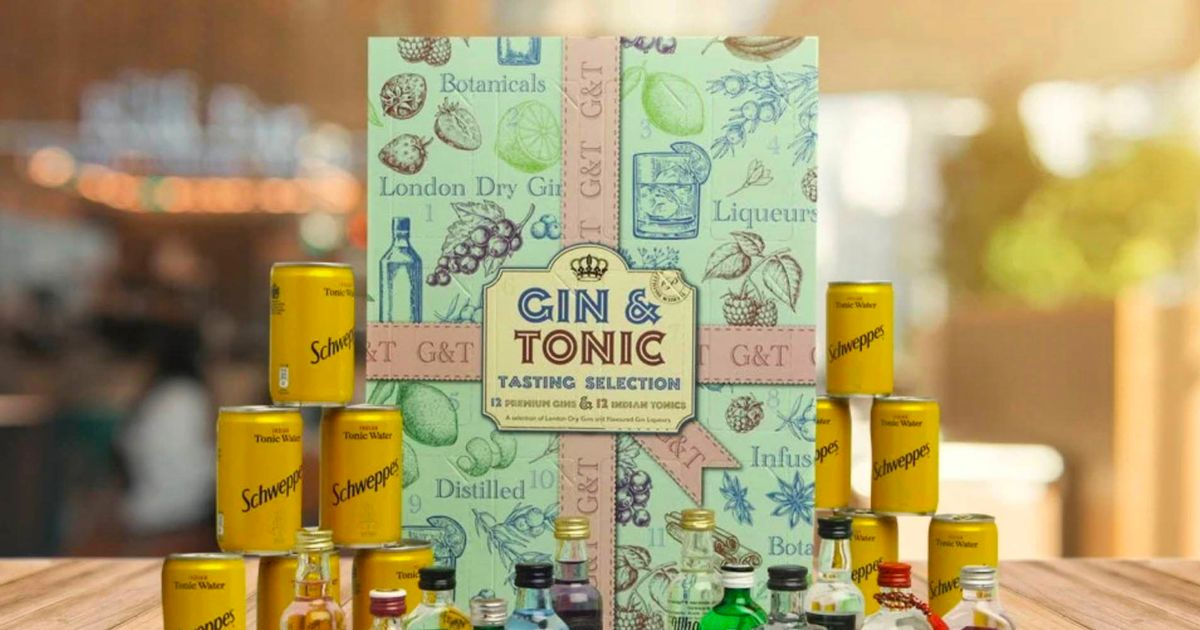 Home Bargains Selling A Gin And Tonic Advent Calendar With Cans Of Schweppes photo