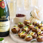 Cranberry and Brie Mushroom Bites paired with Simonsig  Kaapse Vonkel photo