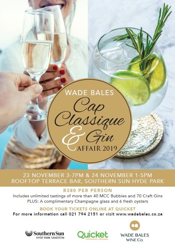 Wade Bales Cap Classique and Gin Affair Returns to Johannesburg photo