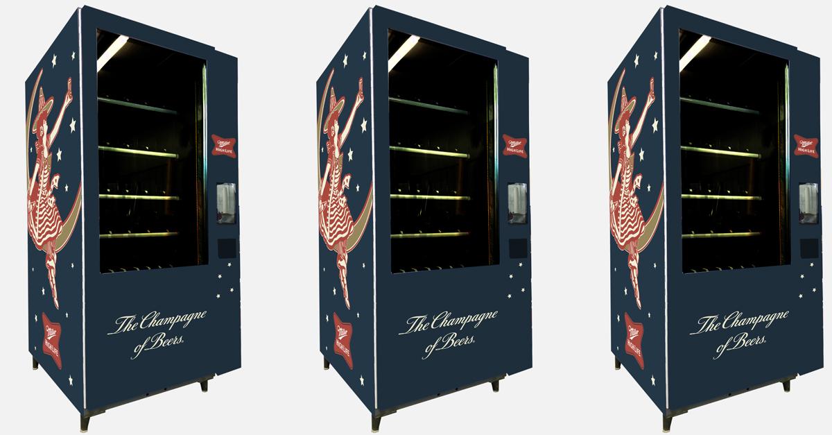 This Vending Machine Dispenses Champagne Bottles Of Miller High Life photo