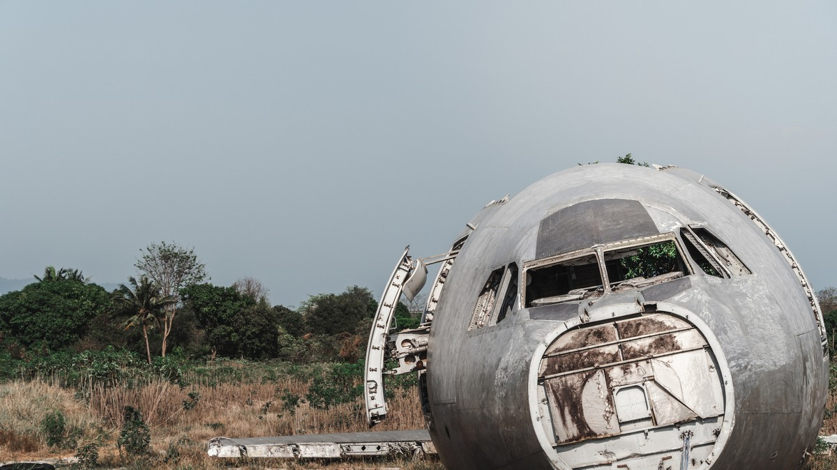 A Restaurant With A Plane Sticking Out Of It Near A Fatal Crash Site… Not Great photo