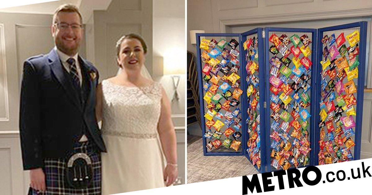 Couple Create Wall Of Crisps For Their Wedding Guests And It Goes Down A Treat photo