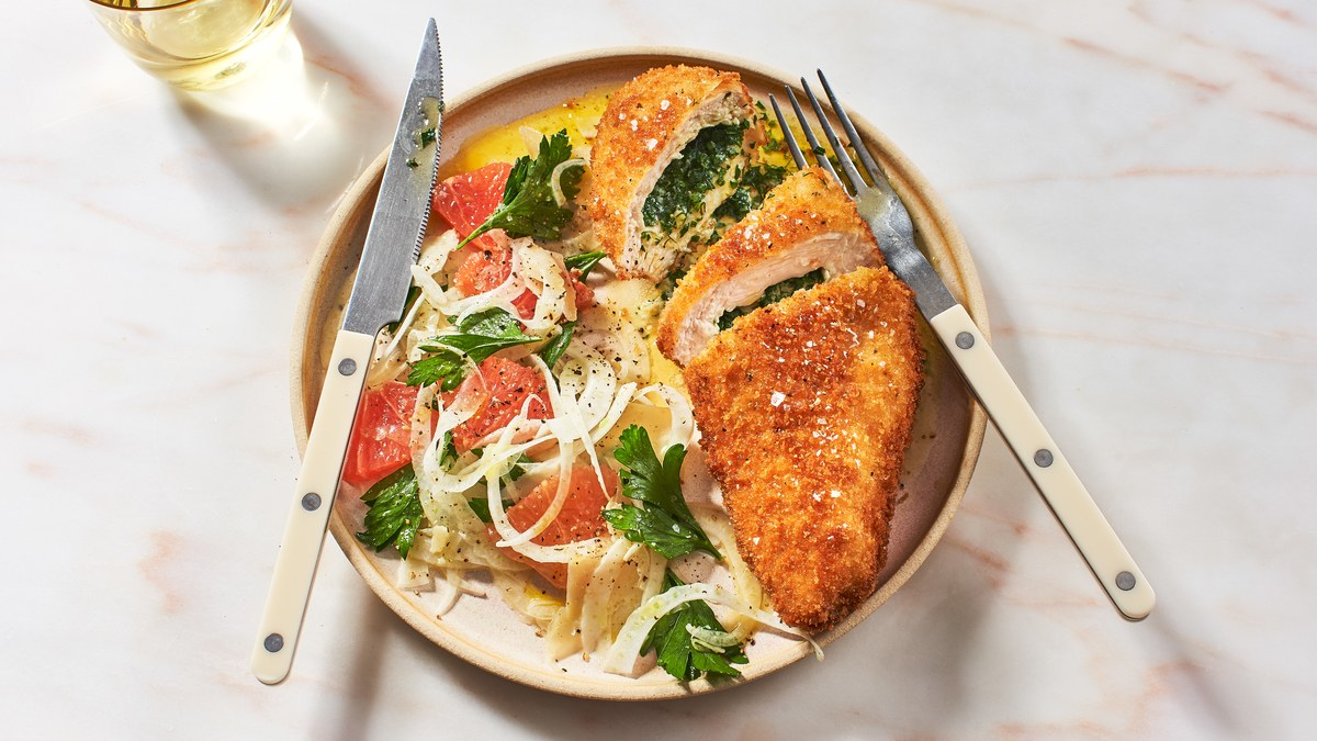 Herb Cultured Butter-stuffed Chicken Breasts With Crispy Fennel Salad Recipe photo