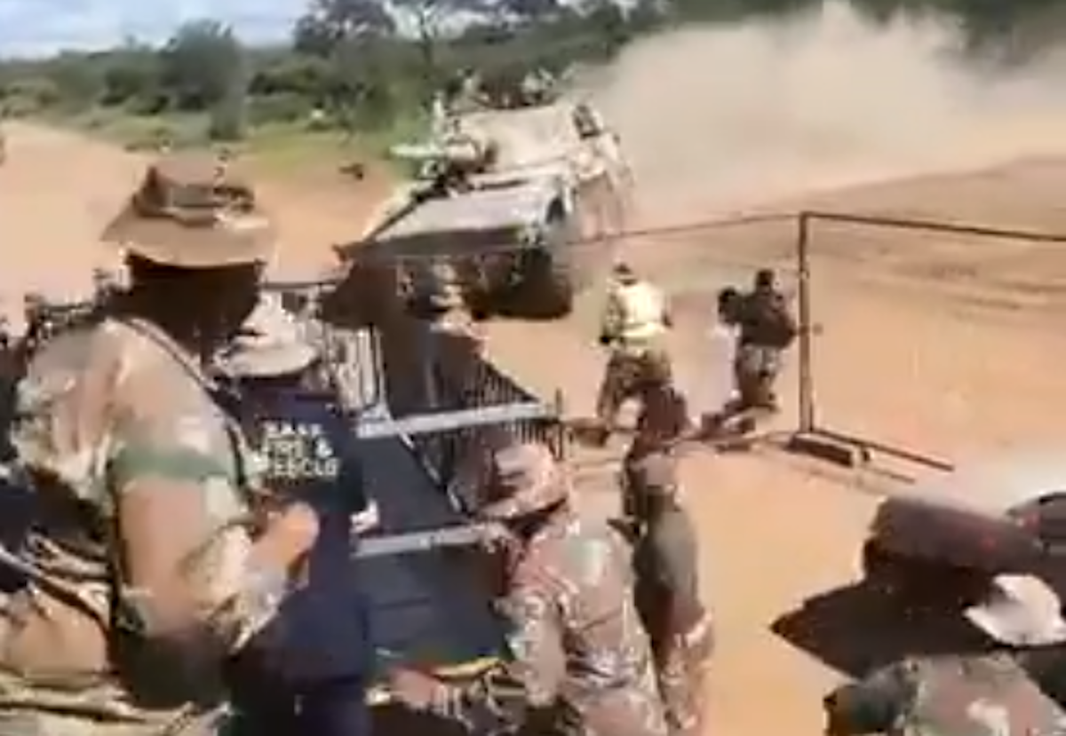 Watch: Sandf Tank Almost Ploughs Through Crowd During Exercise photo