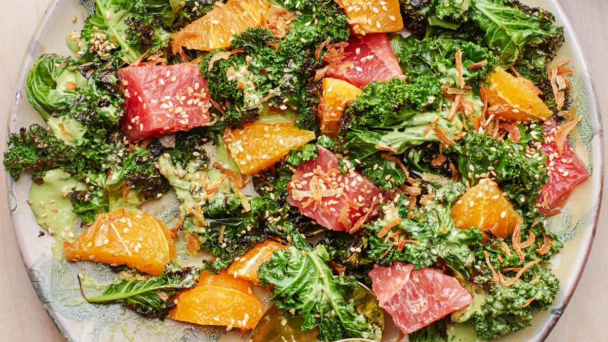 Charred Kale With Citrus And Green Tahini Recipe photo