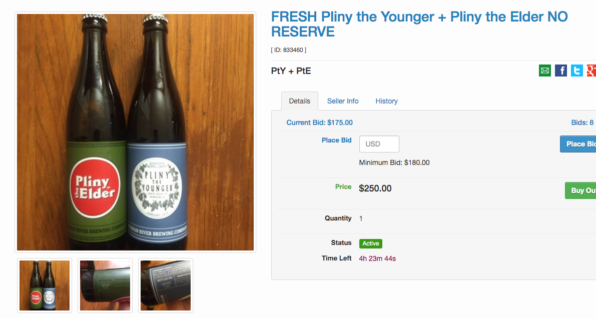 Ridiculous Markup On Pliny The Younger At Beer Auction Site photo