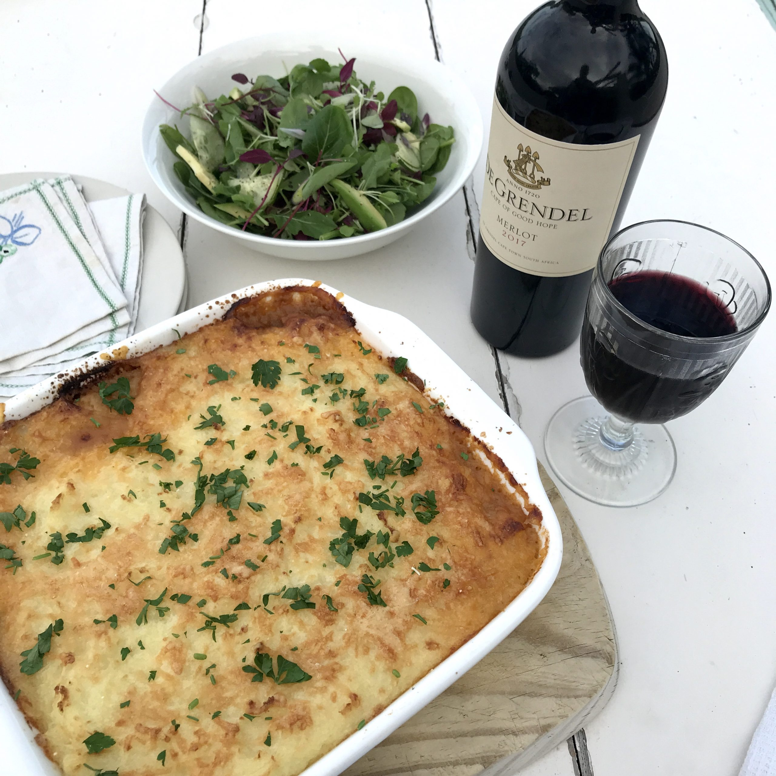 Chef Ian's Shepherd's Pie with Parmesan and De Grendel Merlot photo