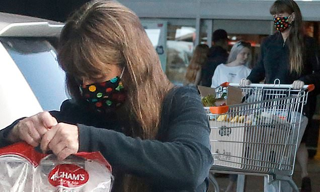 Terri Irwin Wears A Mask While Shopping For Groceries At Supermarket photo