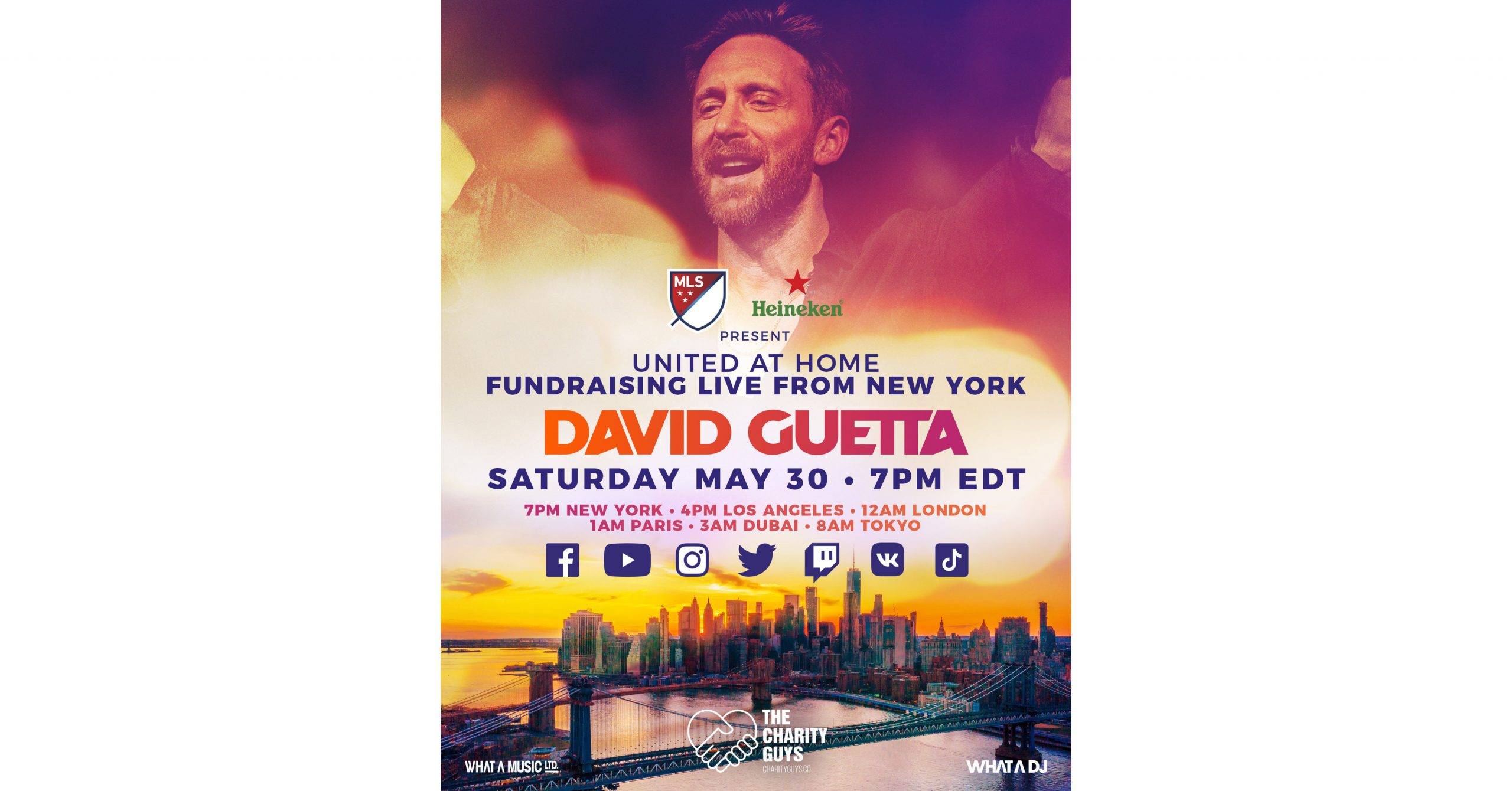 """Mls And Heineken® To Present David Guetta's Second """"united At Home"""" Charity Livestream Event photo"""