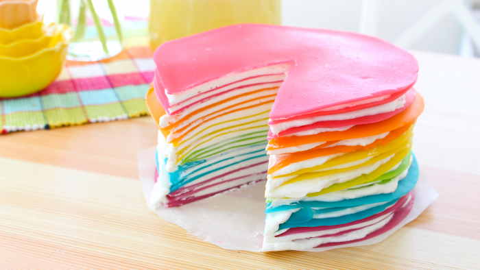 rainbow cake 700x394 The Most Striking And Decadent Crêpe Cakes