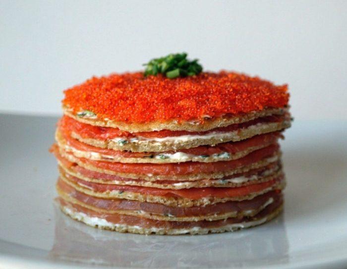 smoked salmon crepe cake ii 1024x795 1 700x543 The Most Striking And Decadent Crêpe Cakes