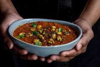 Recipe: Corn And Roasted Red Pepper Soup photo
