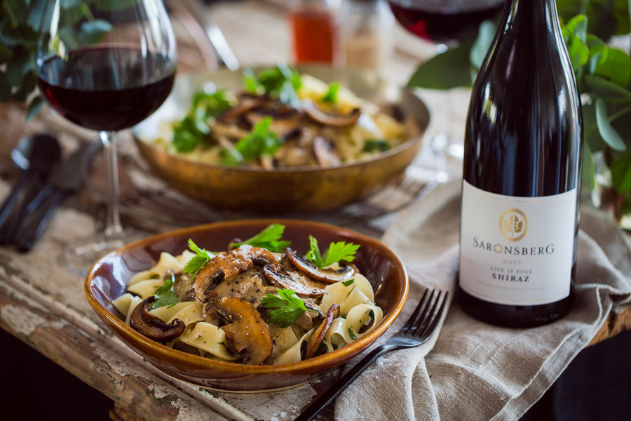Beef & Portabello Stroganoff Paired With Saronsberg Life Is Fine Shiraz photo