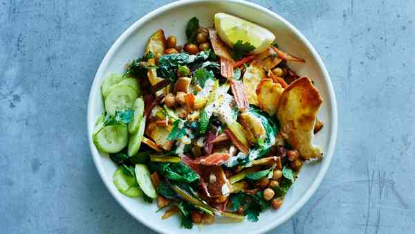 Recipe: Spiced Chickpea Salad With Tahini And Pita Chips photo
