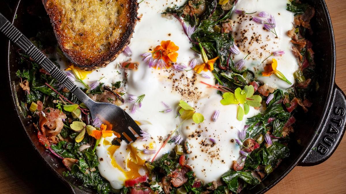 Greens, Eggs, And Bacon Recipe photo