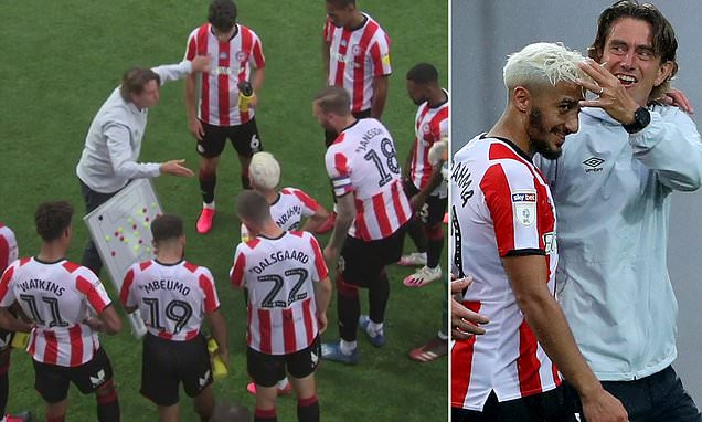 Brentford's Frank Takes Drinks Break To Next Level By Using Whiteboard photo