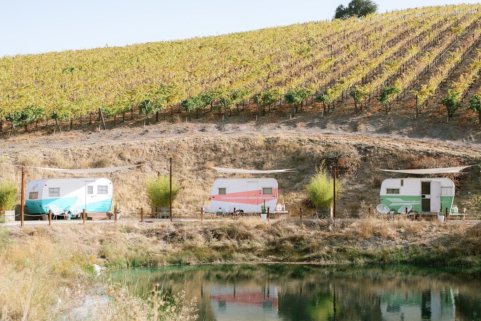 A Vintage Trailer Campsite In A Secluded California Vineyard Comes With A Private Swimming Dock And Is Offering Weekend Buyouts Starting At $3000. Take A Look Inside. photo