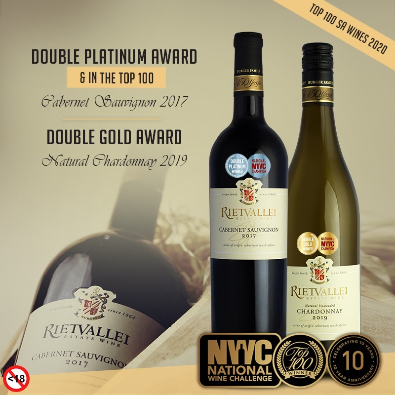 Rietvallei Cabernet Sauvignon 2017 Double Platinum at National Wine Challenge photo