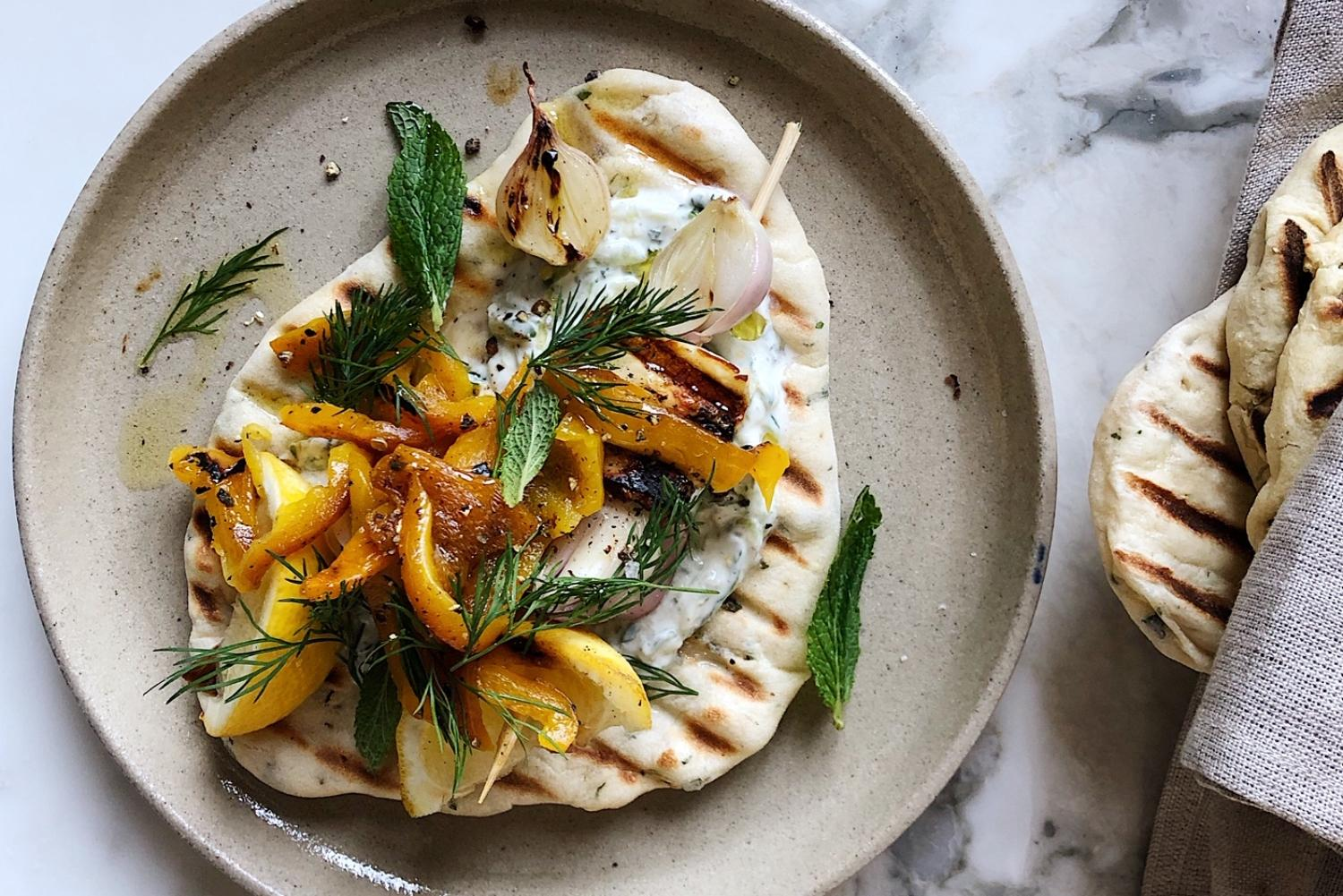 How To Make Anna Barnett's Minted Flatbreads With Halloumi Skewers photo