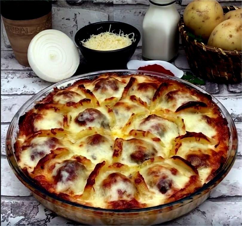 Cheesy Potato Meatball Bake photo
