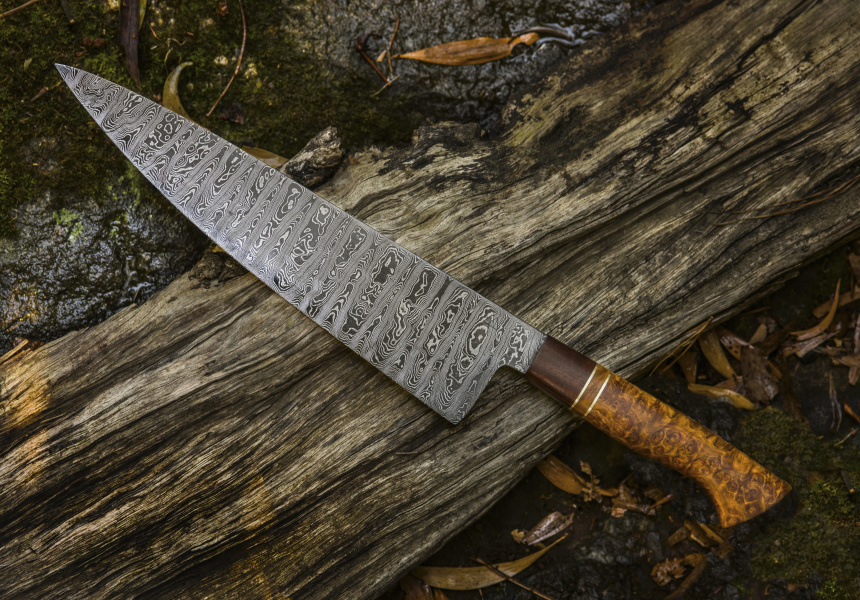 These Marble-patterned Steel Knives Are Created In The Victorian Rainforest, With Handles Made From Fallen Trees photo