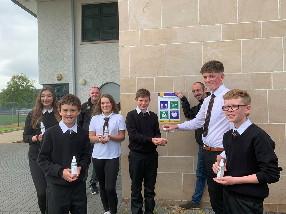 Isle Of Skye Distillers Gift Hand Sanitiser To All Portee High School Pupils And Staff On First Day Back photo