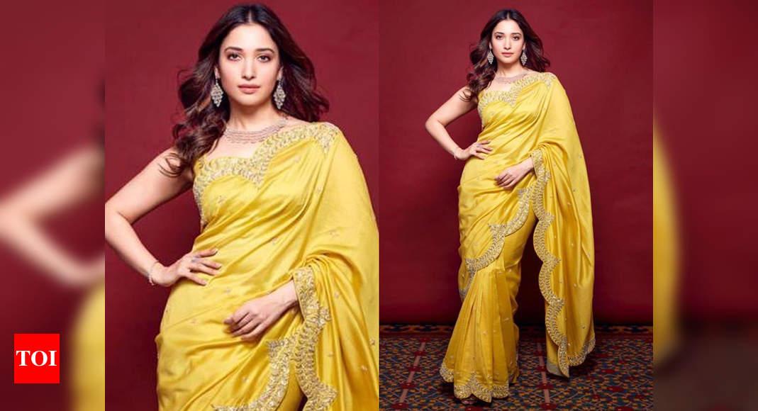 Tamannaah Bhatia's Yellow Sari Look Is Alluring photo