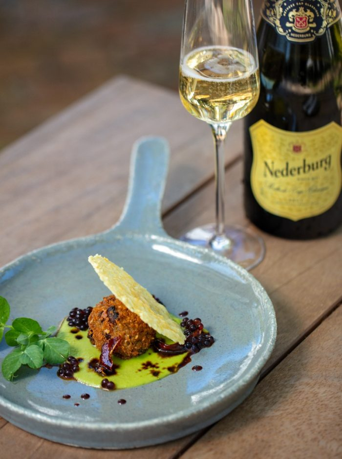 Bubbly on arrival   arancini 700x938 Summer Sunset Stoep Sessions At Nederburg's The Manor