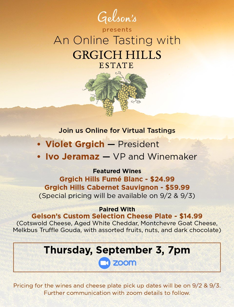 Gelson's Presents: Virtual Tasting With Grgich Hills Estate photo