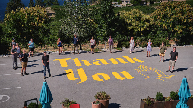 Blasted Church Vineyards Has Installed A Permanent Thank You Sign For Firefighters And Volunteers On Their Property photo