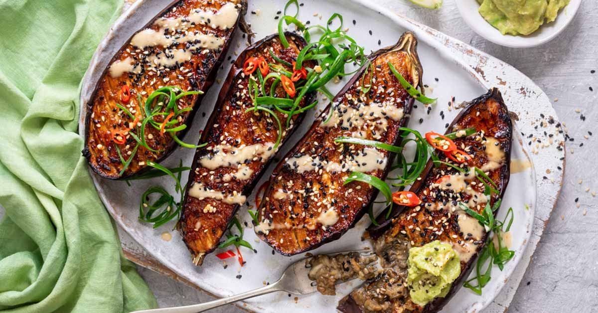 Miso Glazed Aubergines With Vegan Miso Mayo photo