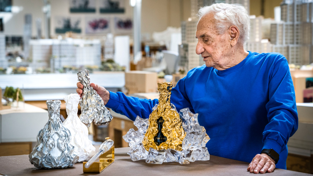 Frank Gehry On Designing His Striking, Limited-edition Bronze Hennessy Bottle photo