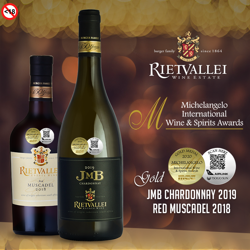 Gold Medals for Rietvallei Wine Estate at 2020 Michelangelo International Wine and Spirits Awards photo