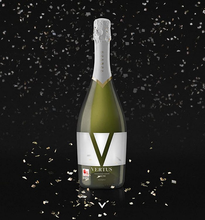 vertus bottle on black 700x753 Live The High Life With These Cannabis Champagne Replicas