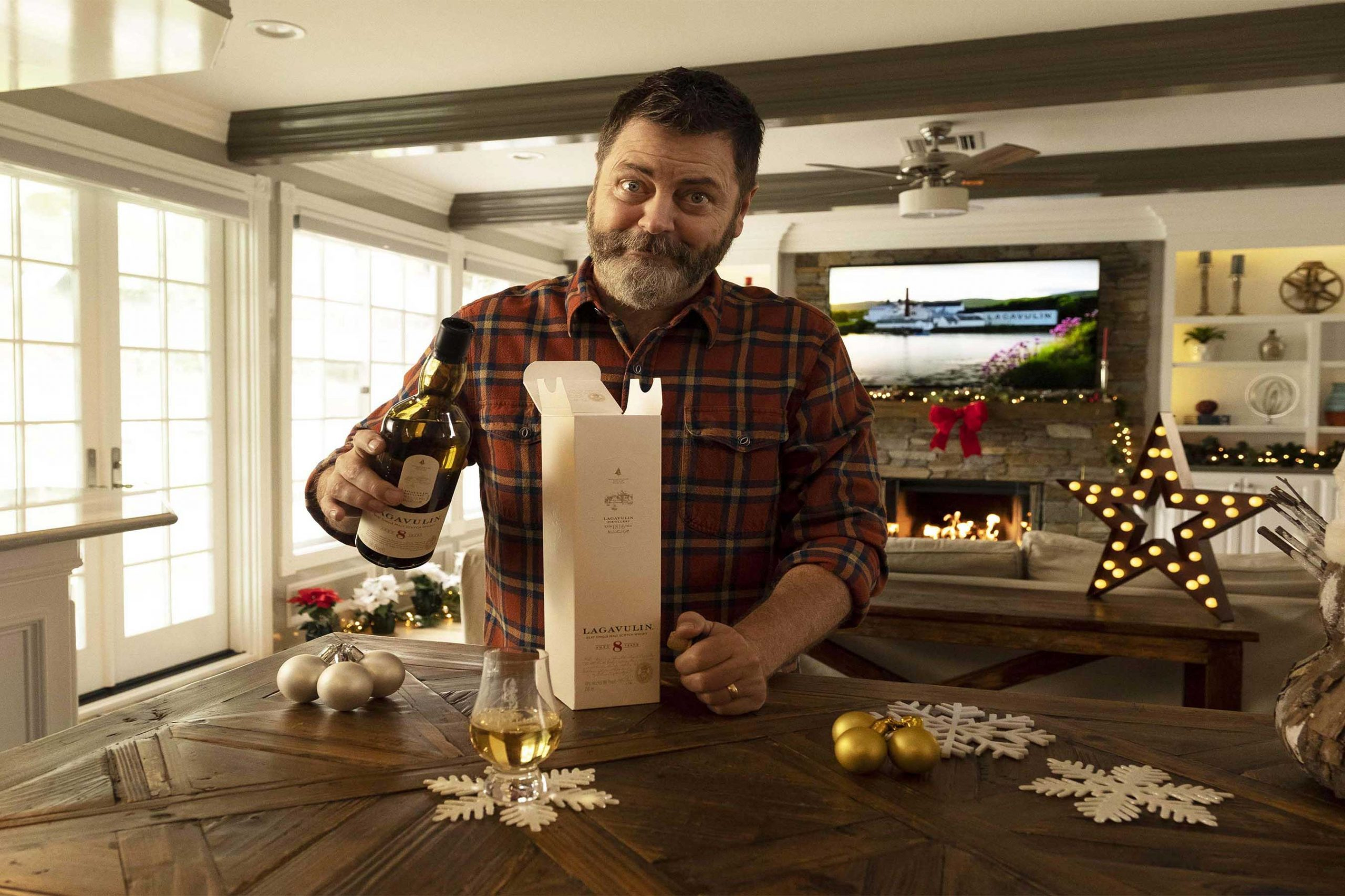 Nick Offerman And Lagavulin Single Malt Scotch Whisky Are Having A Dram Good Holiday At Home photo
