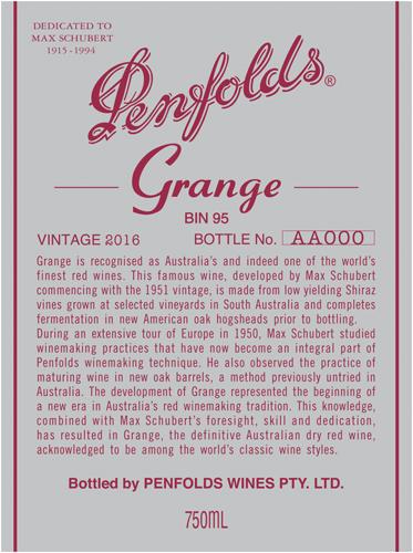 Penfolds 2016 Grange Shiraz (south Australia) photo