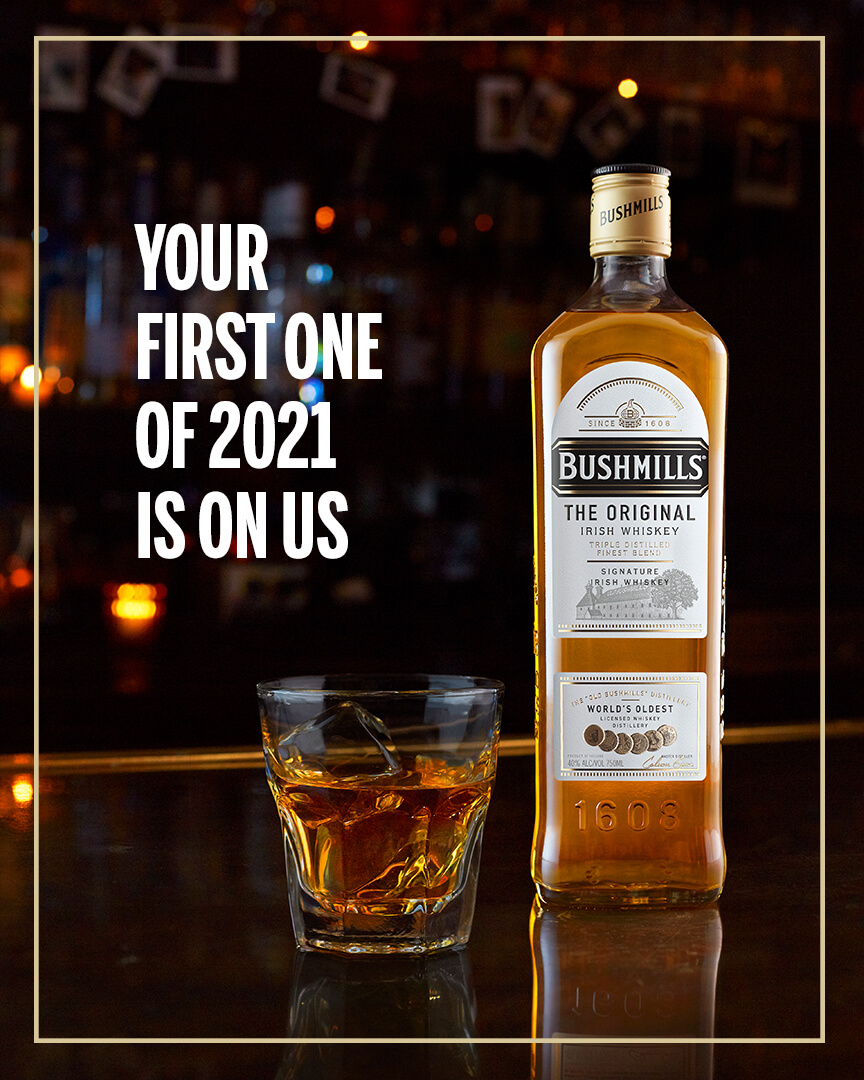 Bushmills Irish Whiskey Launches Program To Pay For Your First Drink This New Year photo