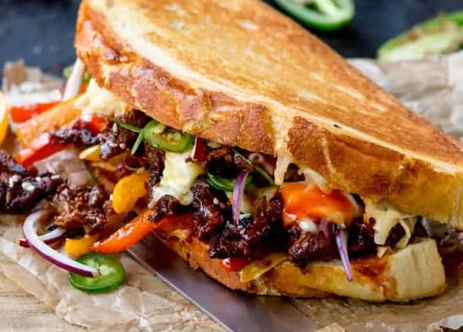 Spicy Korean Steak Sandwich With Garlic Mayo photo