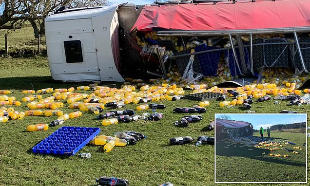 Lorry Crash Spills Thousands Of Bottles Of Fanta Into Farmer's Field photo