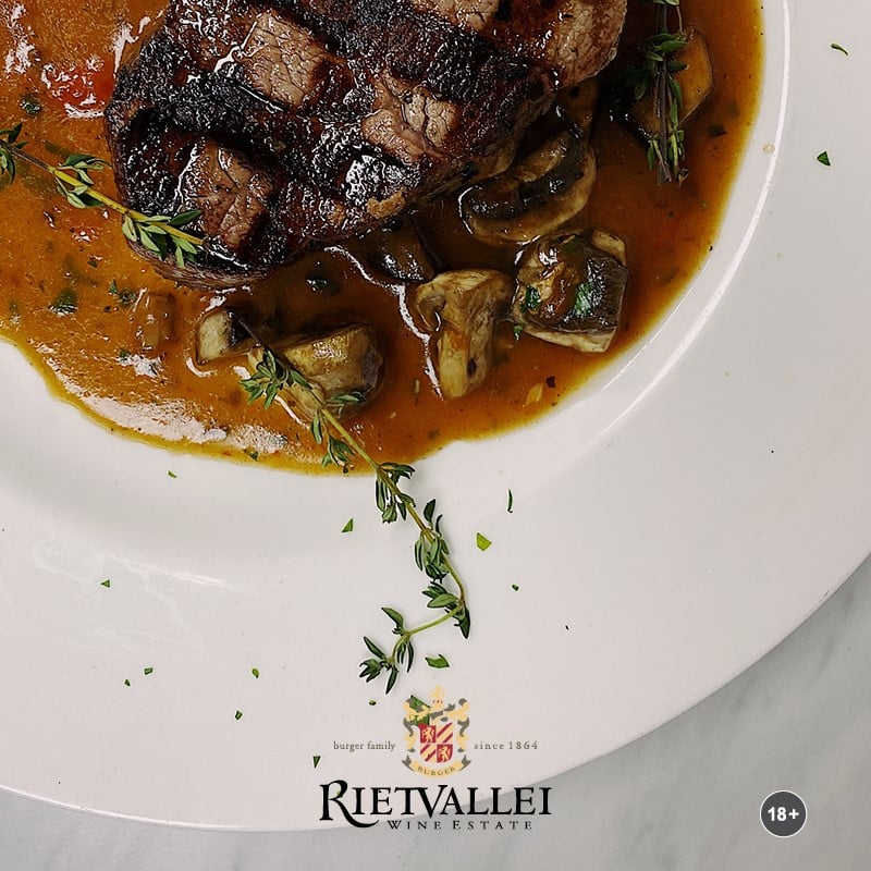 Beef Tenderloin Roast In A Red Wine Jus, Paired With Rietvallei Estate 2016 photo