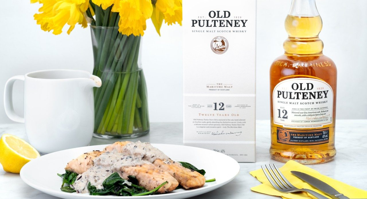 Modern Scottish Recipe: Roast Salmon With Wilted Spinach And Old Pulteney Whisky Cream Reduction photo