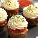 Meatloaf Cupcakes Wrapped in Bacon photo