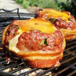 Beer Can Wrapped Bacon and Minced Meat Burger Patties For The Braai photo